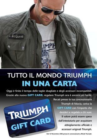 Triumph gift card accessori for Moto usate in regalo